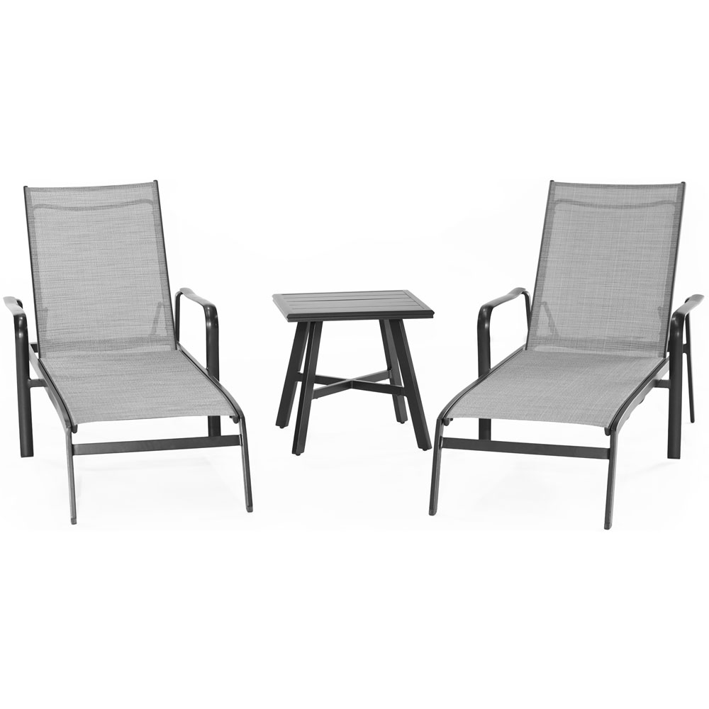 "Foxhill 3pc: 2 Chaise Lounge Chairs and 22"" Side Table"