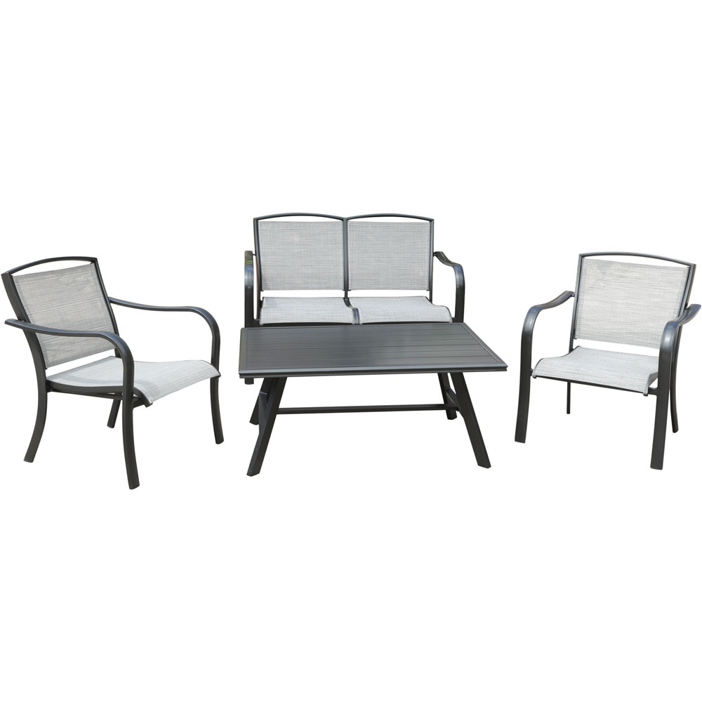 Foxhill 4pc: 2 Sling Chrs, Sling Loveseat, and Slat Coffee Table
