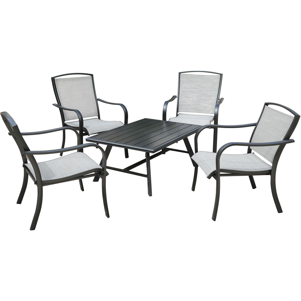 Foxhill 5pc Seating Set: 4 Sling Chairs and Slat Coffee Table