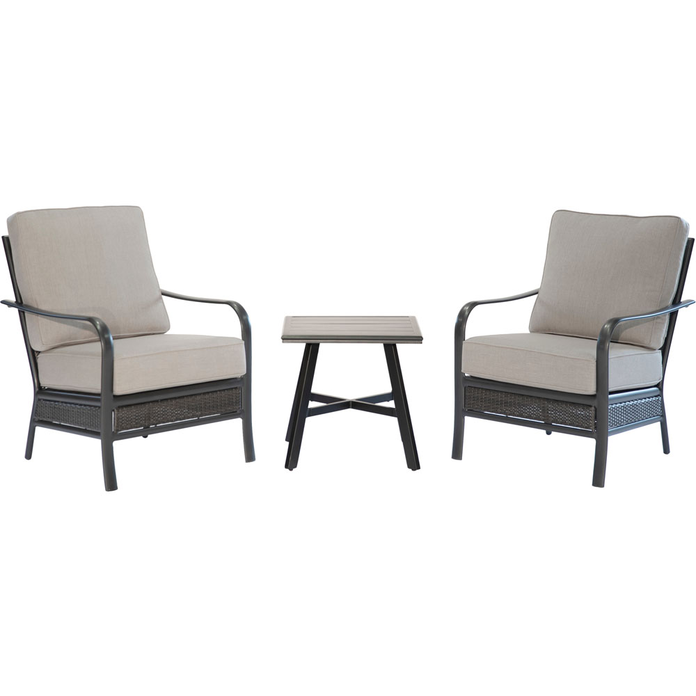 """Oakmost 3pc: 2 Woven Club Chairs and 22"""" Side Table"""