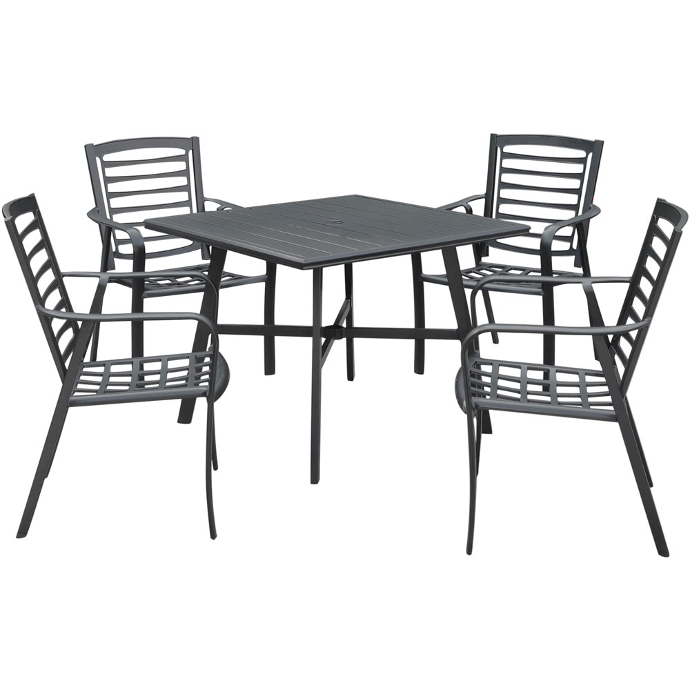 """Pemberton 5pc: 4 Alum Dining Chairs  and 1 38"""" Sq Slat Table"""