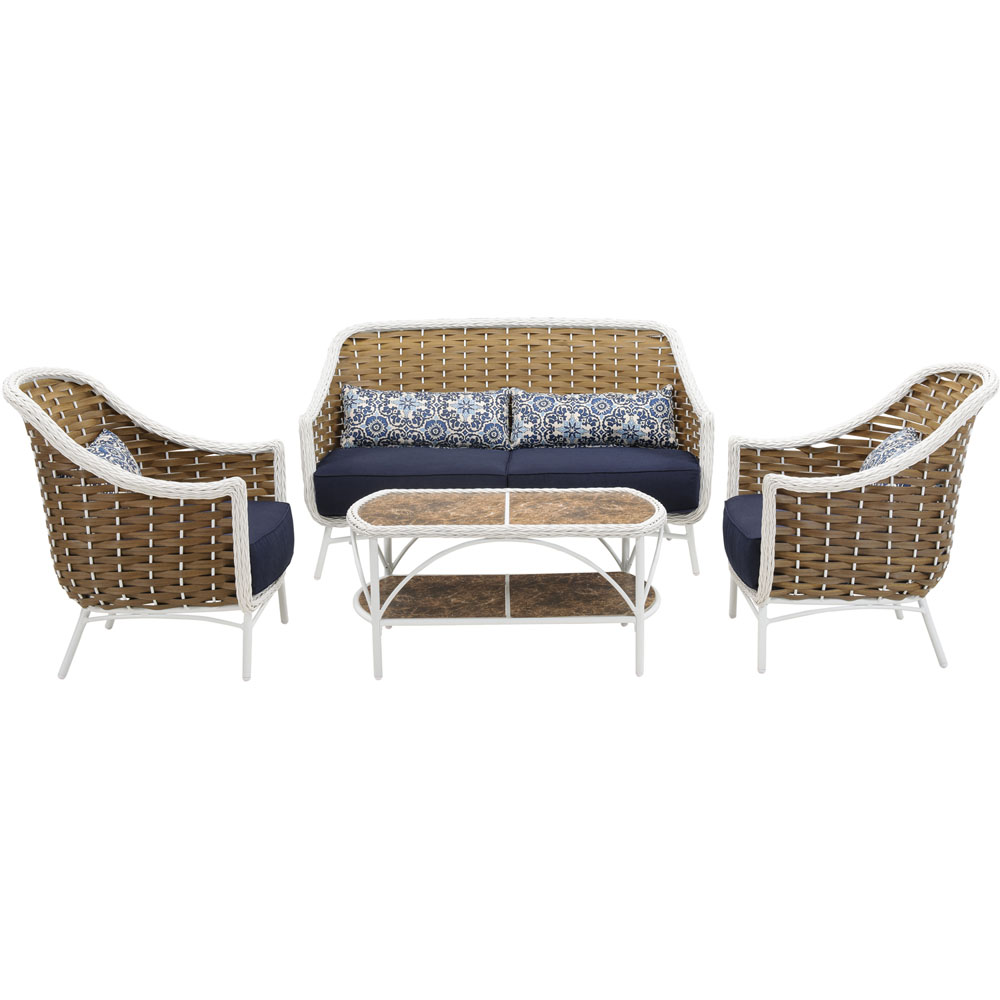 Athens 4pc Seating Set: 1 Sofa, 2 Chairs, 1 Tile Top Woven Coffee Table
