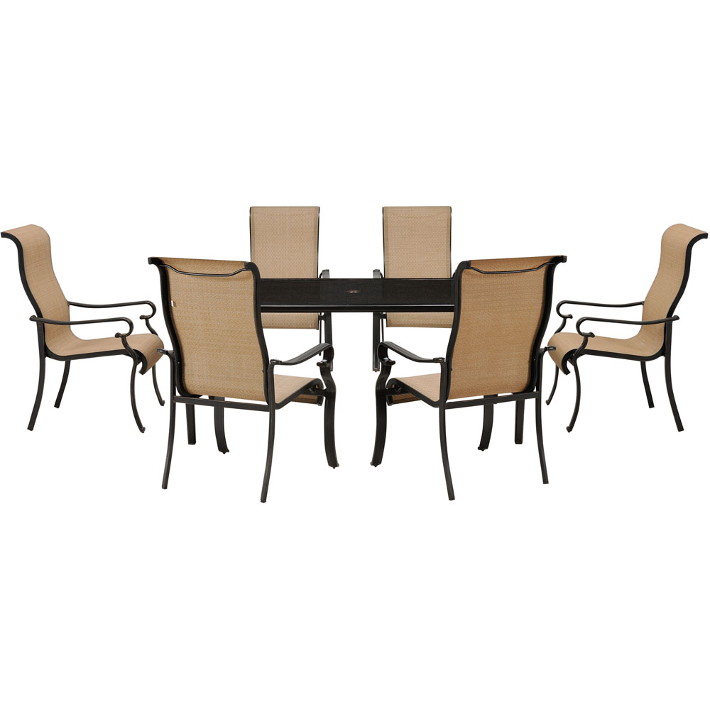 Brigantine 7-pc Dining Set: Alum. Glass Table, 6 Sling Chairs