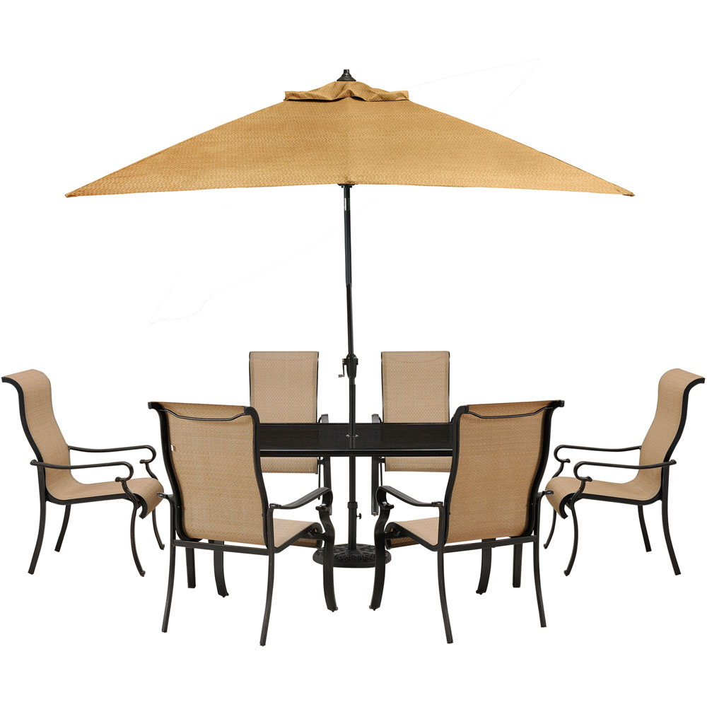 Brigantine 7-pc Dining Set: Alum. Glass Table, 6 Chr, Umbrella, Base