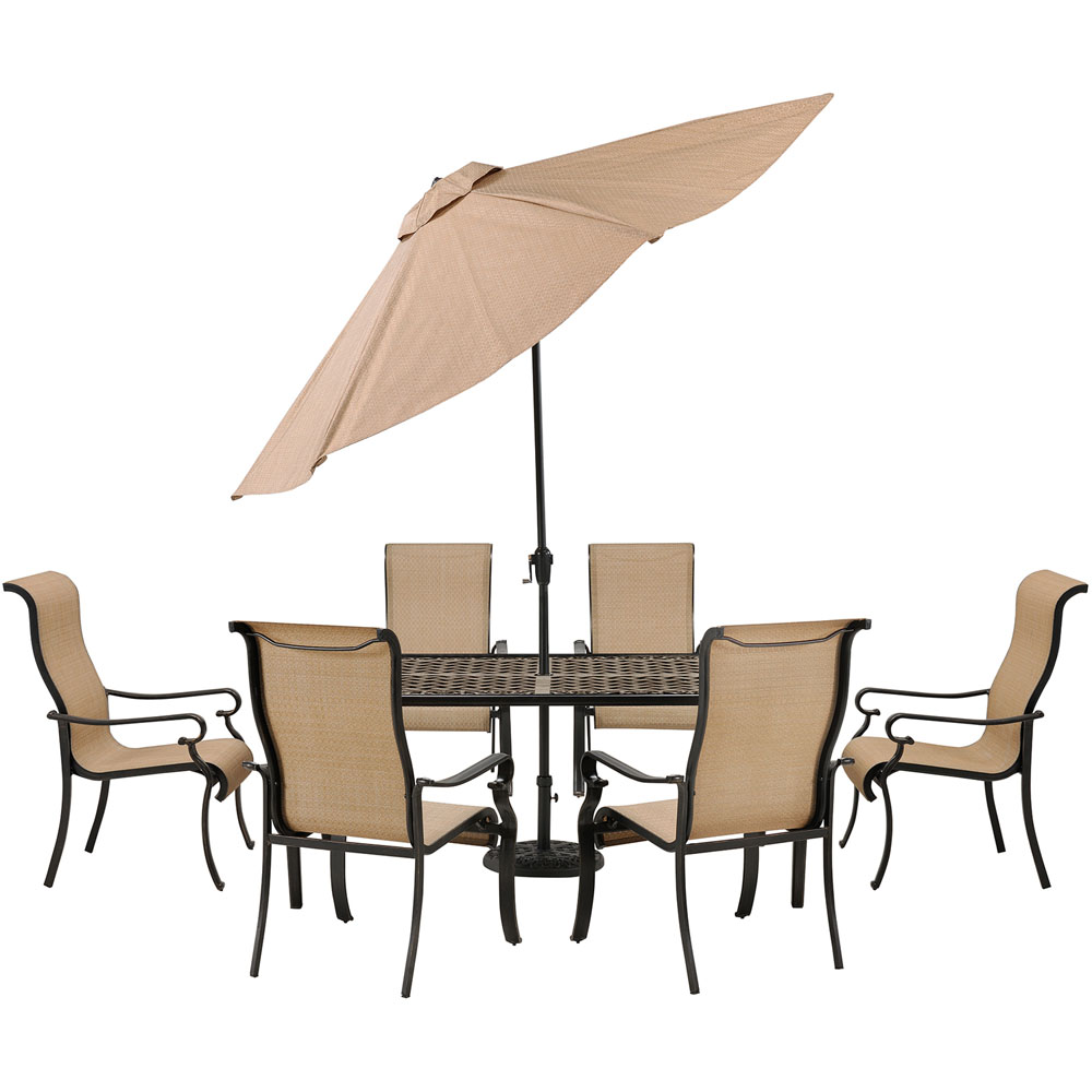 Brigantine 7-pc Dining Set: Alum. Table, 6 Chairs, Umbrella, Base