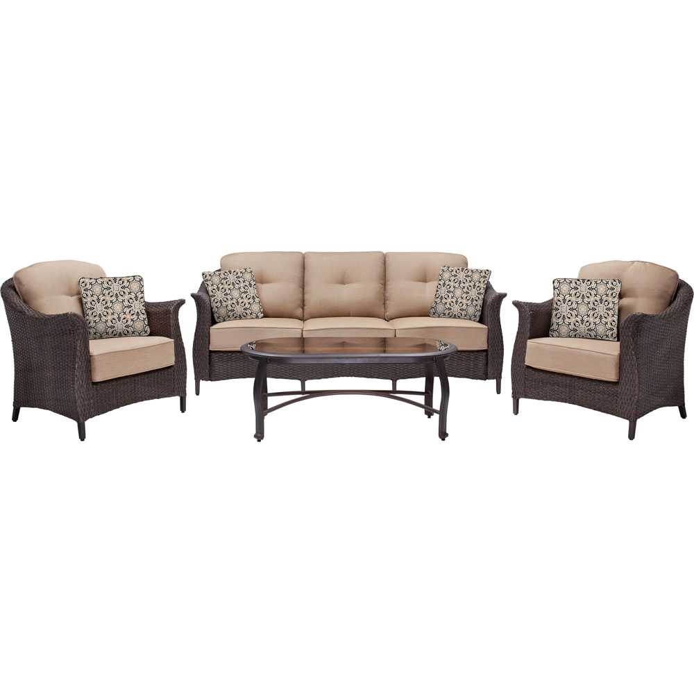 Gramercy 4pc Seating Set: 1 Sofa, 2 Chairs, 1 Glass Top Coffee Table