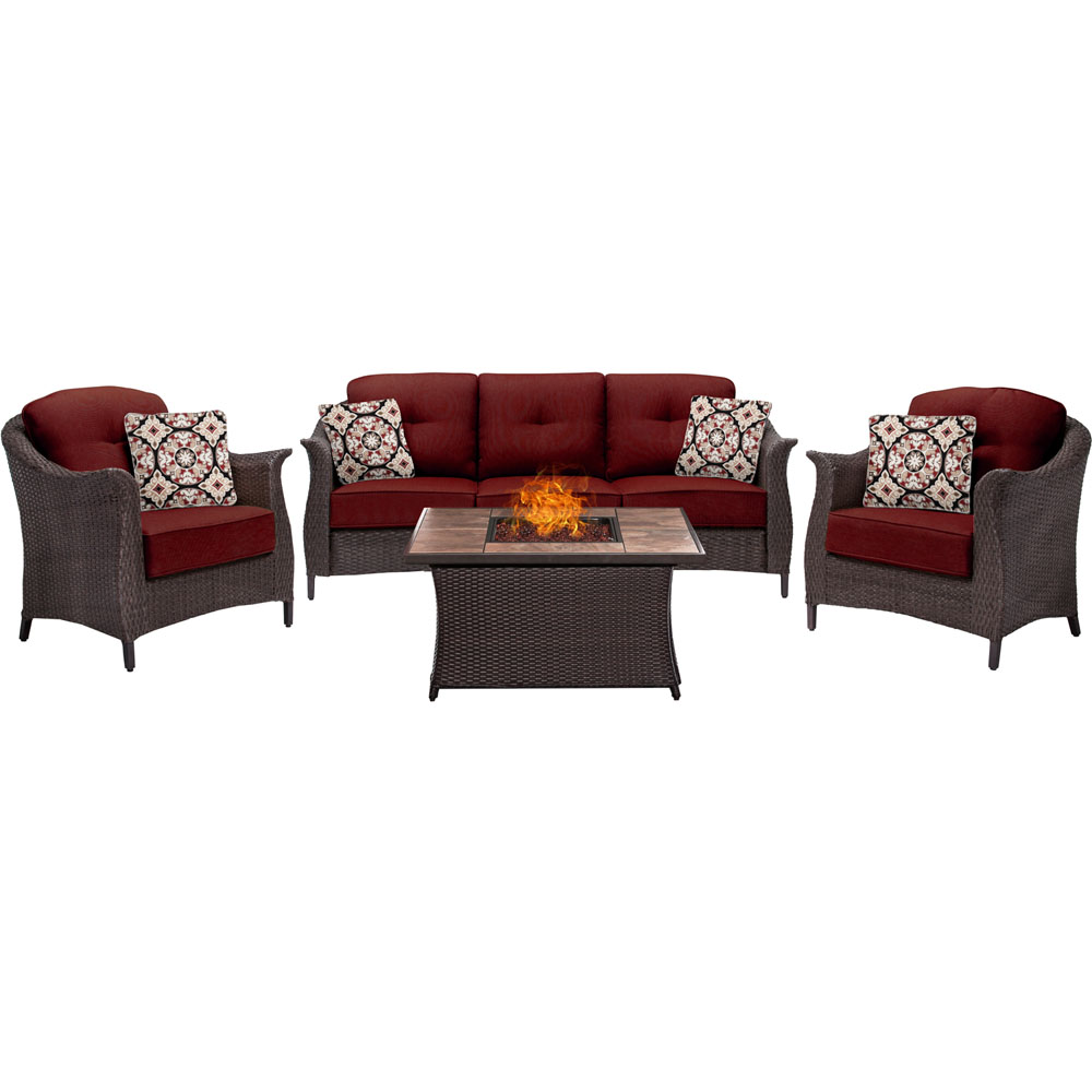 Gramercy 4pc Seating Fire Pit Set with Tan Tile Top