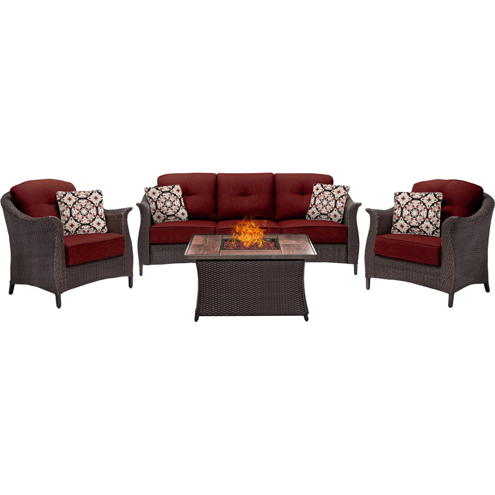 Gramercy 4pc Seating Fire Pit Set with Wood Grain Tile Top