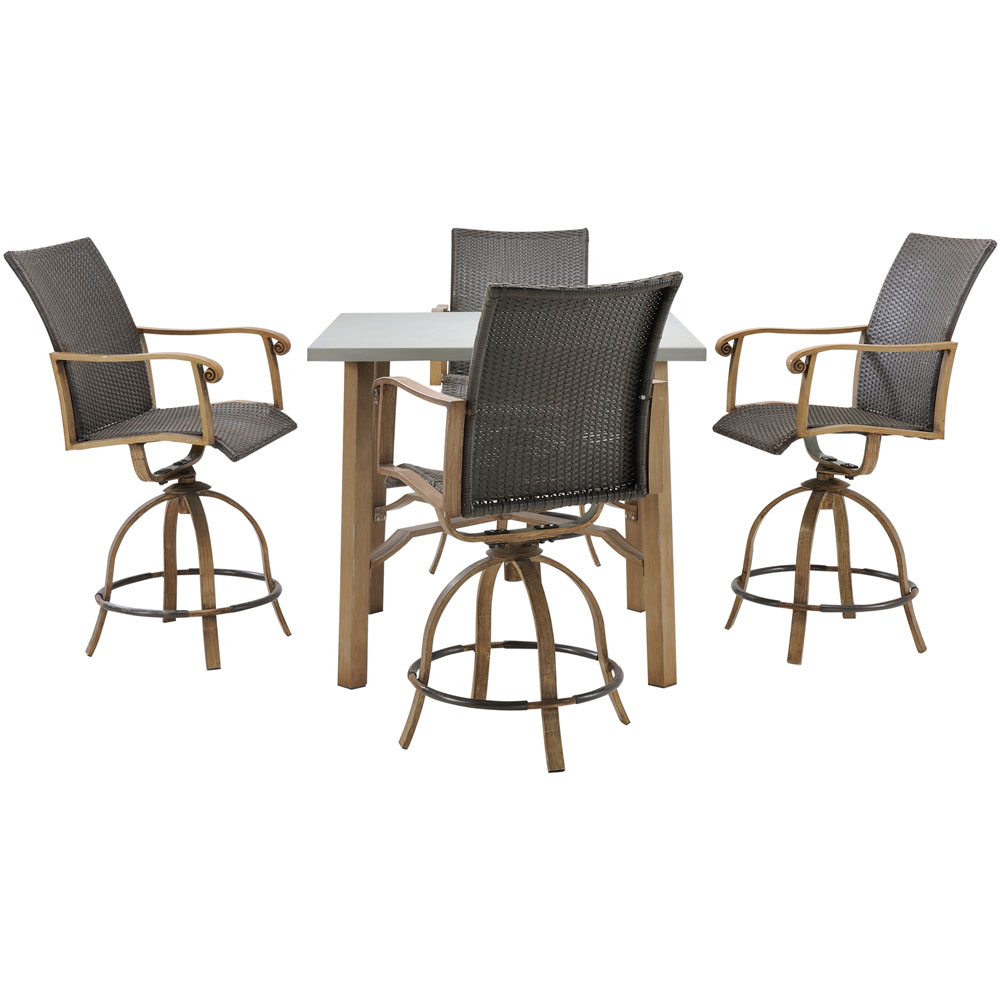 Hermosa 5pc Bar Set: 5 Alum. Dining Chairs, 1 Square Table