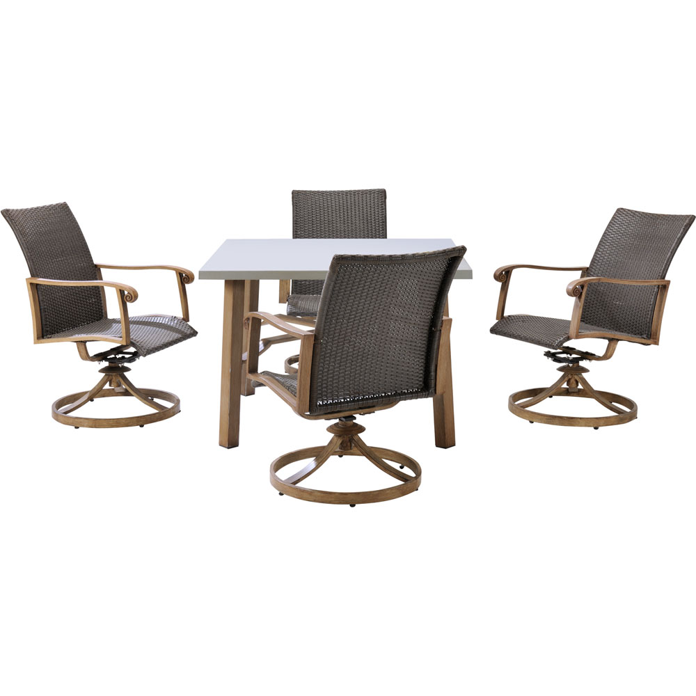 Hermosa 5pc Dining Set: 5 Alum. Dining Chairs, 1 Square Table