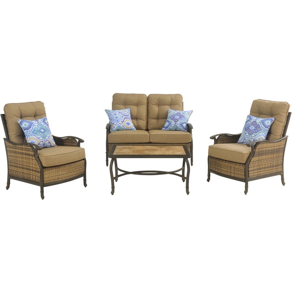 Hudson Sq 4pc Seating Set: 1 Loveseat, 2 Chairs, 1 Coffee Table
