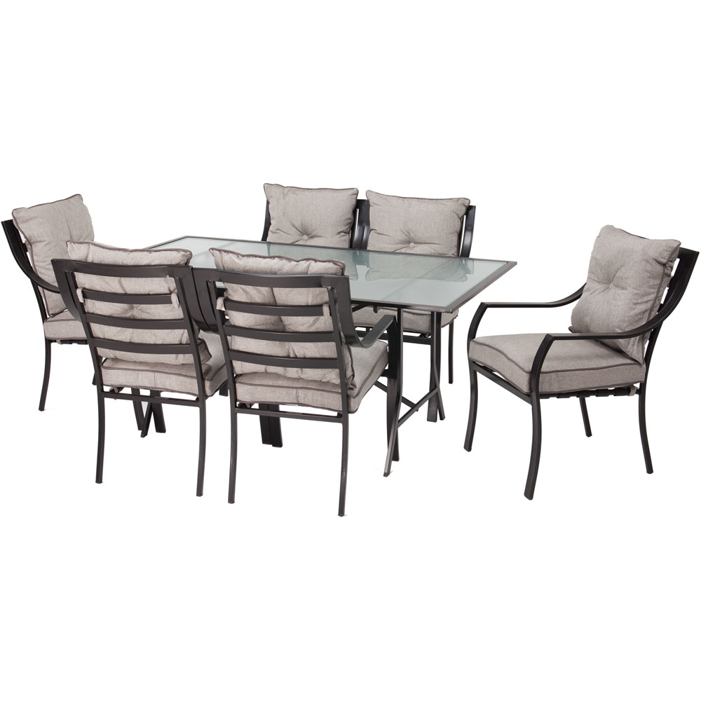 Lavallette 7-pc Dining Set (Glass Table + 6 Cushion Chairs)