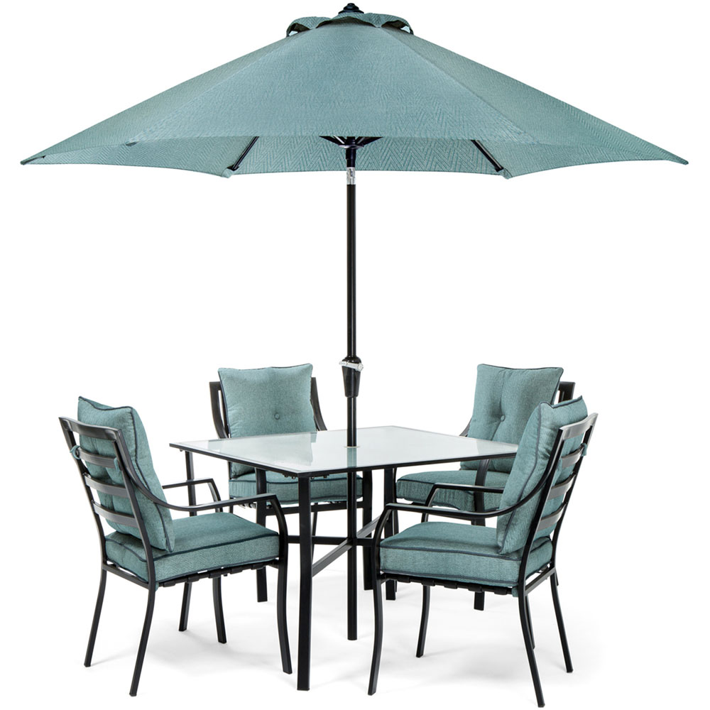5pc Dining Set: 4 Chairs, 1 Square Table, 1 Umbrella, 1 Umb Base