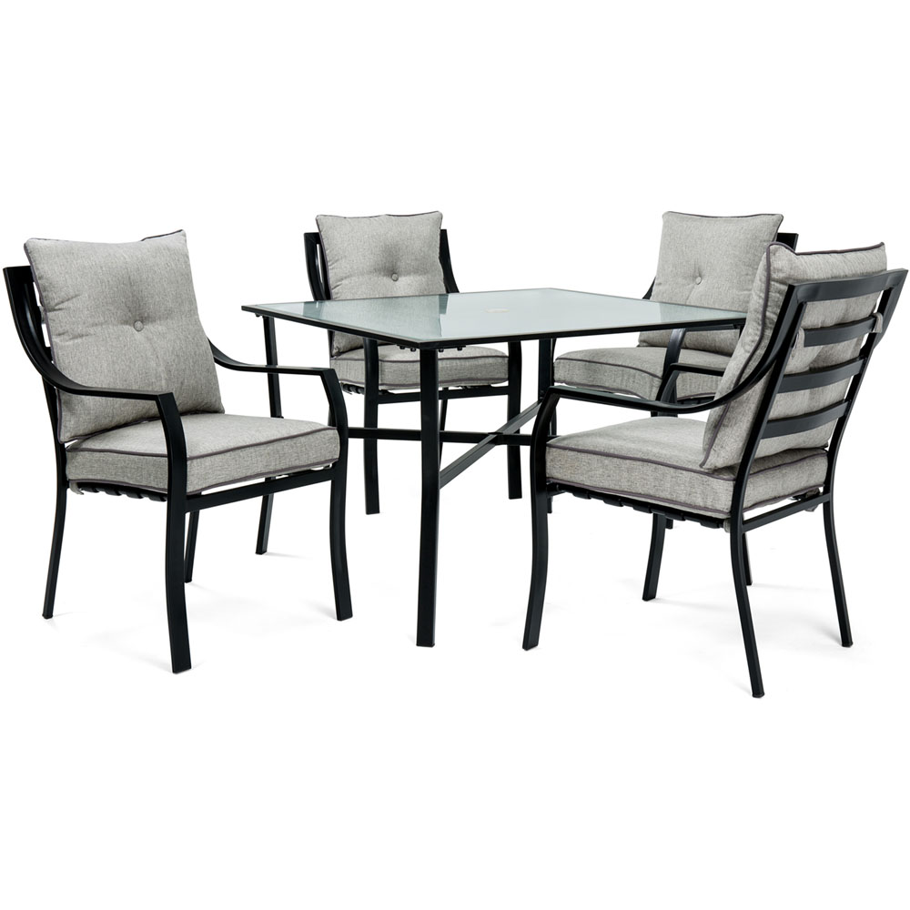 5pc Dining Set: 4 Stationary Chairs, 1 Square Dining Table