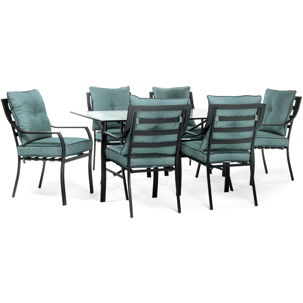 7pc Dining Set: 6 Stationary Chairs, 1 Dining Table