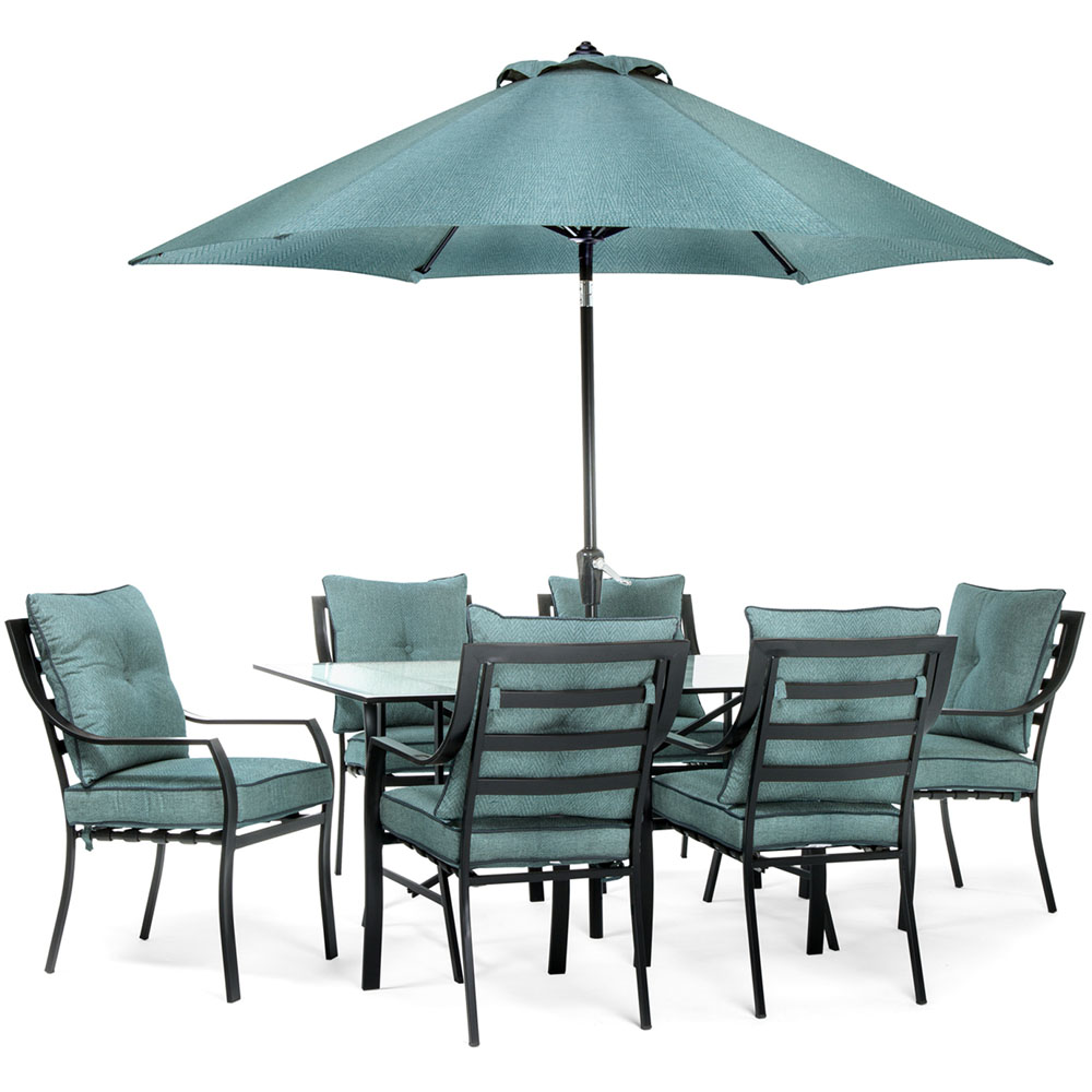 7pc Dining Set: 6 Chairs, 1 Table, 1 Umbrella, 1 Umb Base