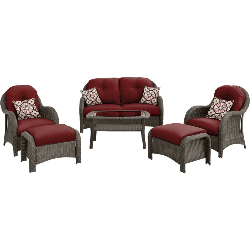 6pc Woven Deep Seating Set: Loveseat, 2 chairs, 2 ottomans, 1 coffee tbl