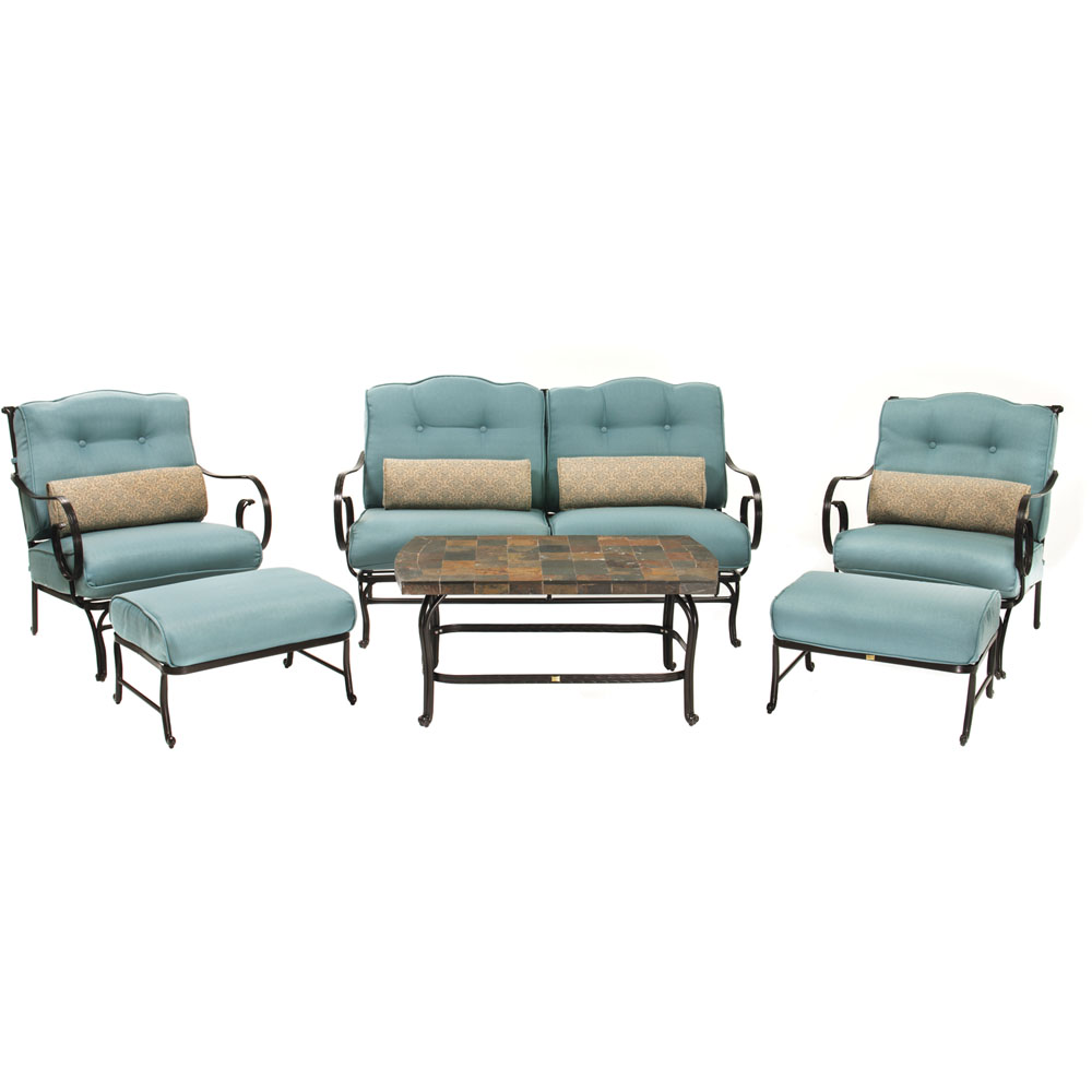 Oceana 6pc Seating Set: sofa, 2 side chairs, coffee table, 2 ottomoans