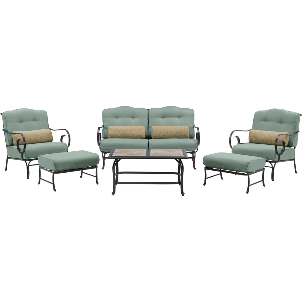 Oceana 6pc Seating Set: Sofa, 2 Side Chrs, 2 Ottoman,Tile-Top Coffee Tbl