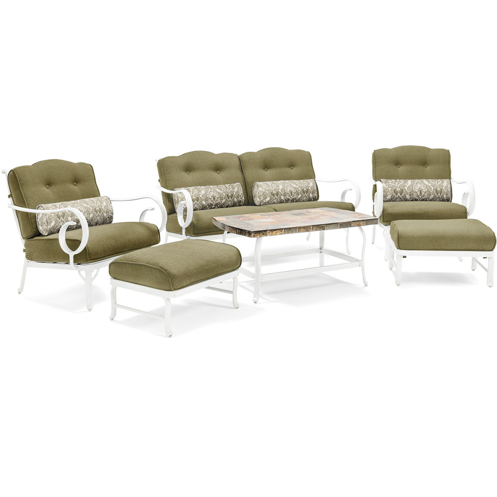 6pc Seating Set w/Aluminum Frame/White Finish,Stone Top Coffee Table
