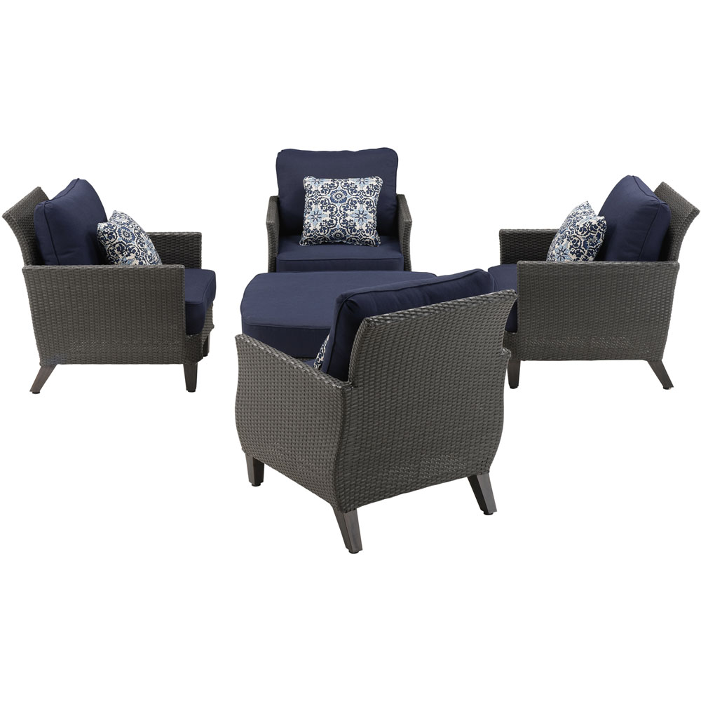 Savannah 5pc Seating Set: 4 Oversized Chairs, One Woven/Cushion Ottoman