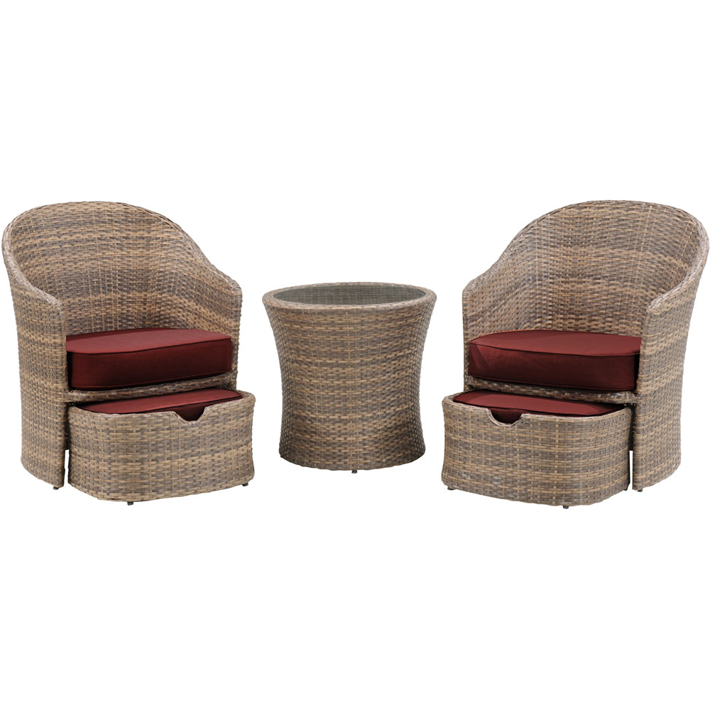 Seneca 5pc Seating Set: 2 Woven Chairs, 2 Ottomans, 1 Woven Side Table