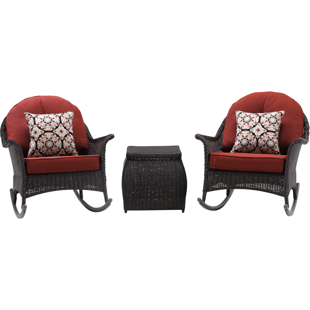 San Marino 3pc Set: 2 Woven Rocking Chairs, One Side Table