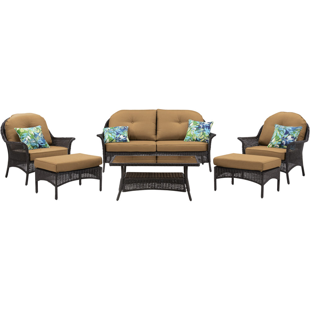 San Marino 6pc Set: 1 Loveseat, 2 Side Chrs,2 Ottomans, 1 Coffee Tbl