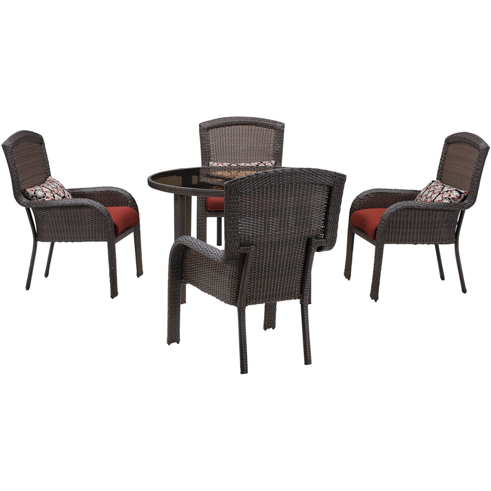 Strathmere 5pc Dining Set: 4 Dining Chairs, 1 Rd. Woven Tbl w/Glass Top