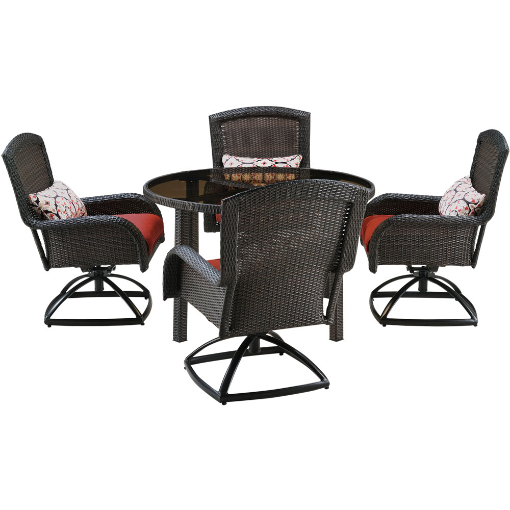 Strathmere 5pc Dining Set: 4 Swivel Chairs, 1 Rd. Woven Tbl w/Glass Top