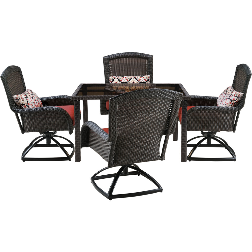 Strathmere 5pc Dining Set: 4 Swivel Chairs, 1 Sq. Woven Tbl w/Glass Top