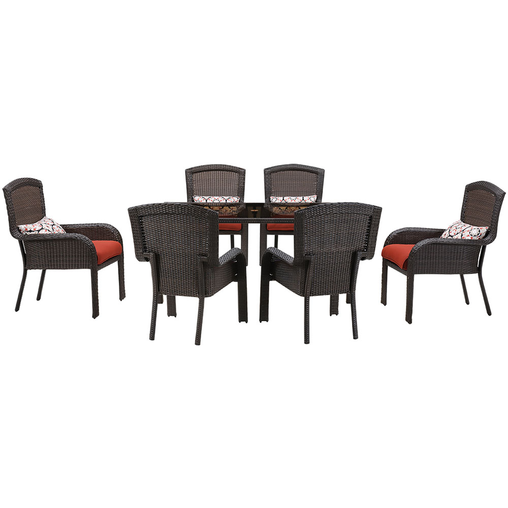 Strathmere 7pc Dining Set: 6 Dining Chairs, 1 Woven Glass Top Table