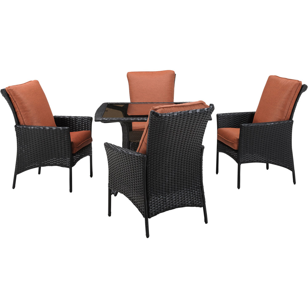 StrathAllure5pc Dining Set: Sq Glass Top Woven Table, 4 Dining Chairs