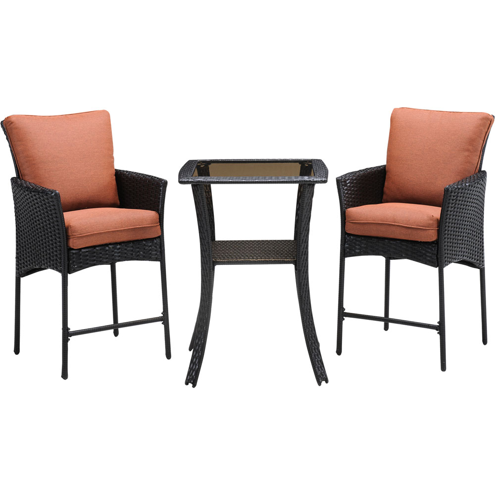 StrathAllure3pc Bar Bistro Set: Woven Bar Table, 2 Woven Bar Chairs