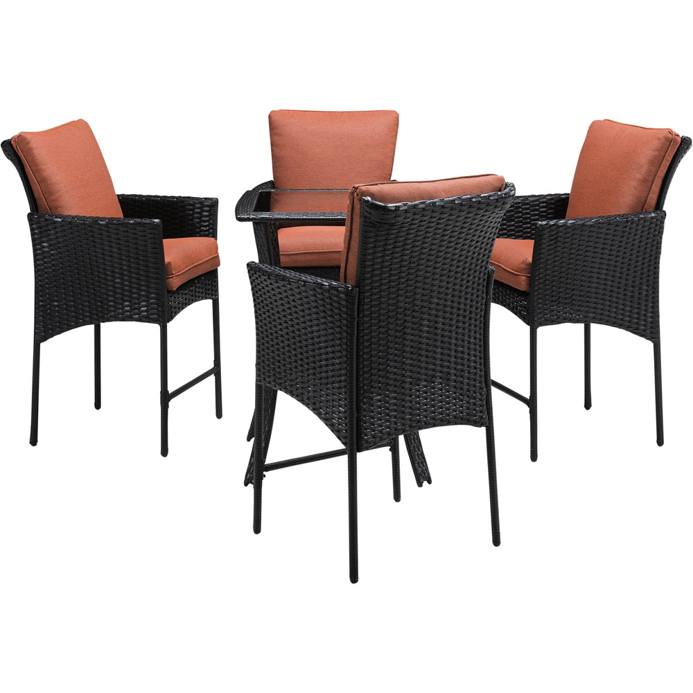 StrathAllure5pc Bar Bistro Set: Woven Bar Table, 4 Woven Bar Chairs