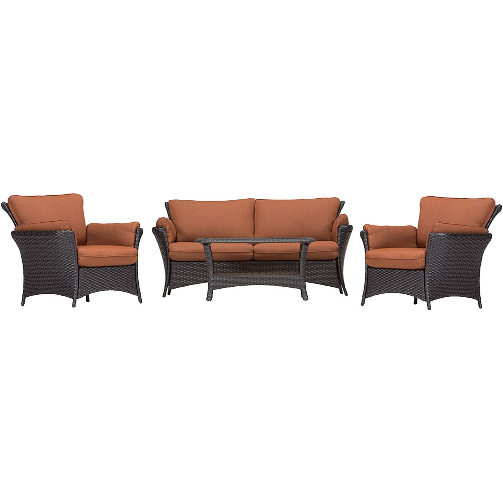 Strathmere Allure 4pc Seating Set: Sofa, 2 chairs, Glass top Coffee Tbl