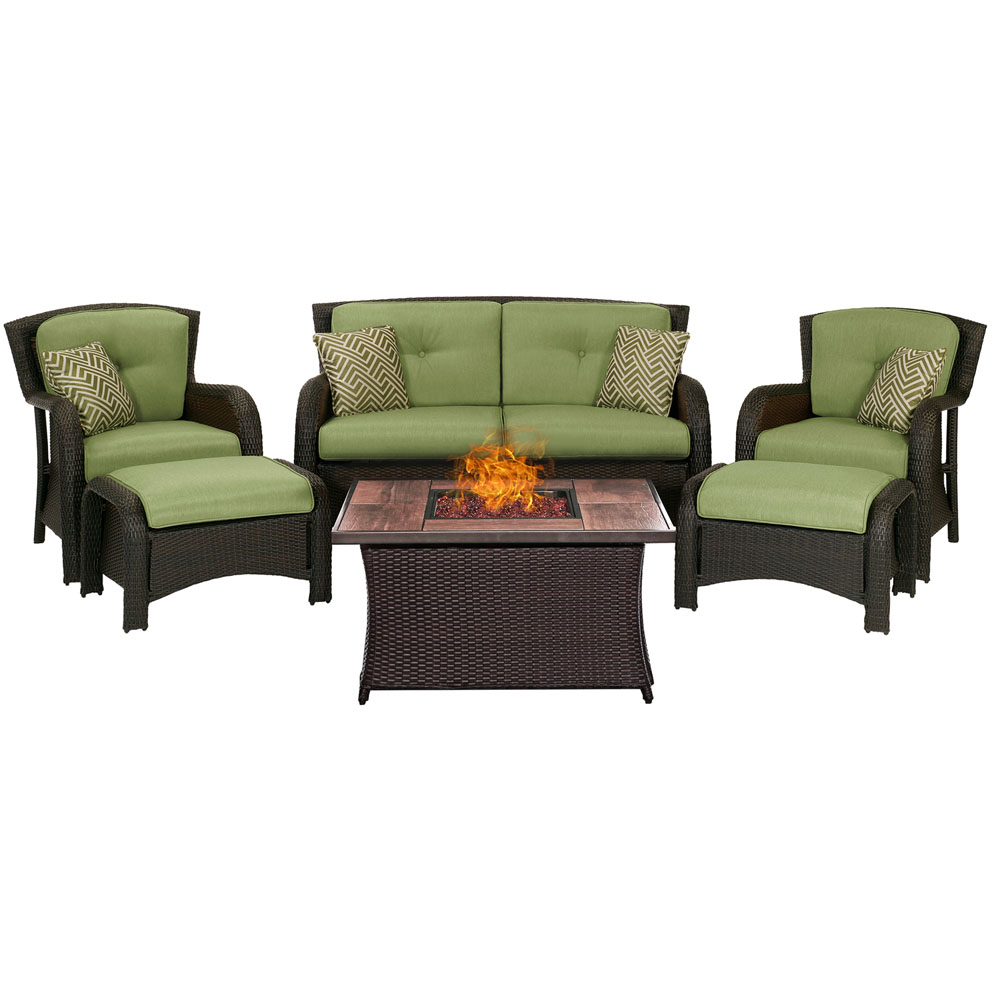 Strathmere 6-pc Fire Pit Set with Wood Grain Tile Top