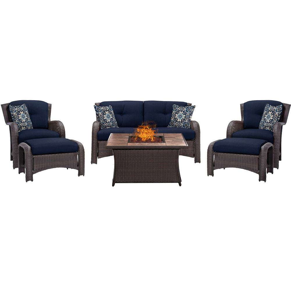 Strathmere 6-pc Fire Pit Set with Tan Tile Top