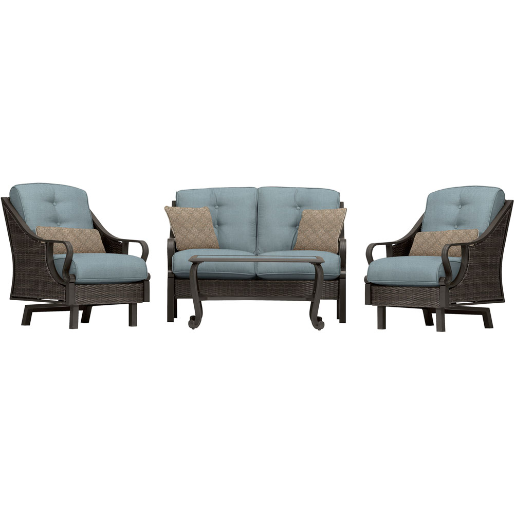 Ventura 4pc Seating Set: Sofa, 2 glide chairs, ceramic tile coffee table