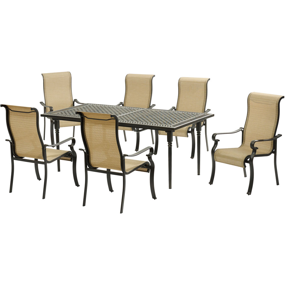 Brigantine7pc: 6 Sling Dining Chairs, Expandable Cast Dining Table