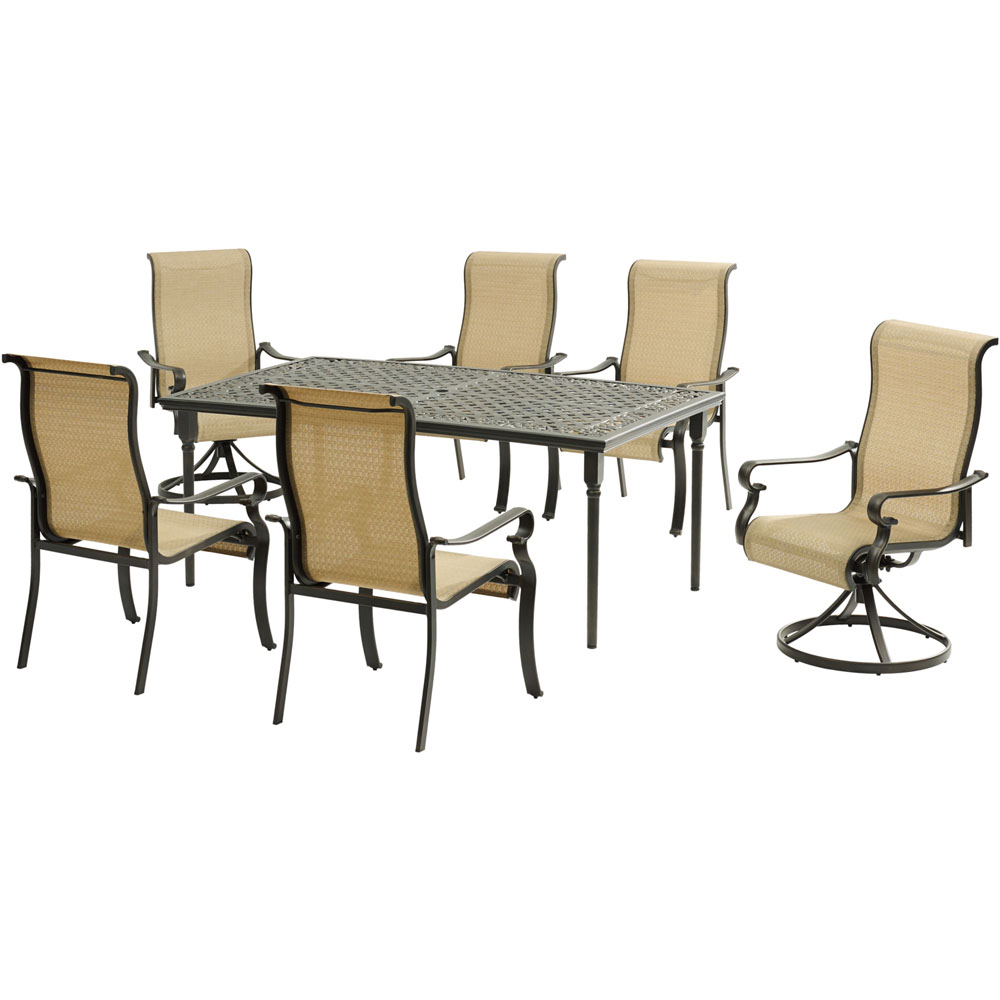 "Brigantine7pc: 4 Sling Chairs, 2 Sling Swivel Rockers, 40x70"" Cast Table"