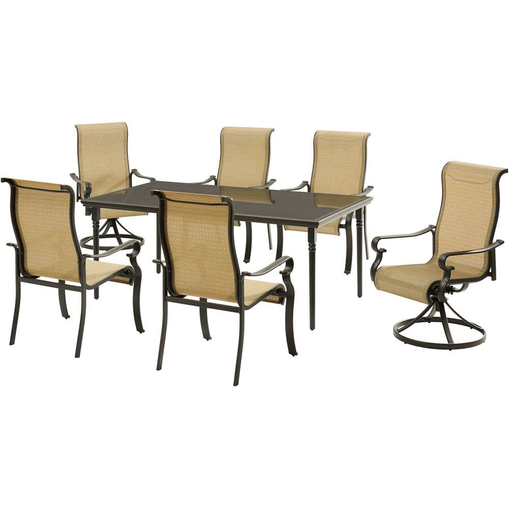 "Brigantine7pc: 4 Sling Chairs, 2 Sling Swivel Rockers, 40x70"" Glass Tbl"