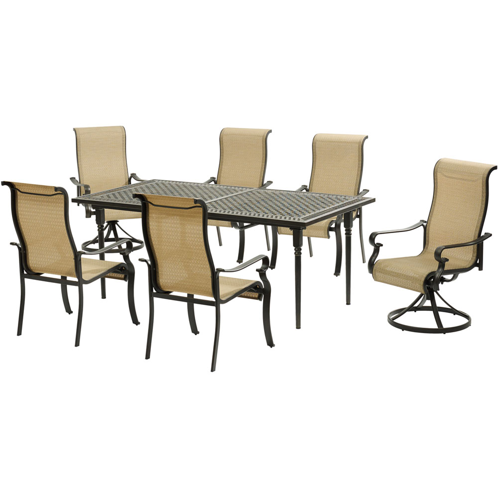 Brigantine7pc: 4 Sling Dining Chrs, 2 Sling Swv Rockers, Exp Cast Table