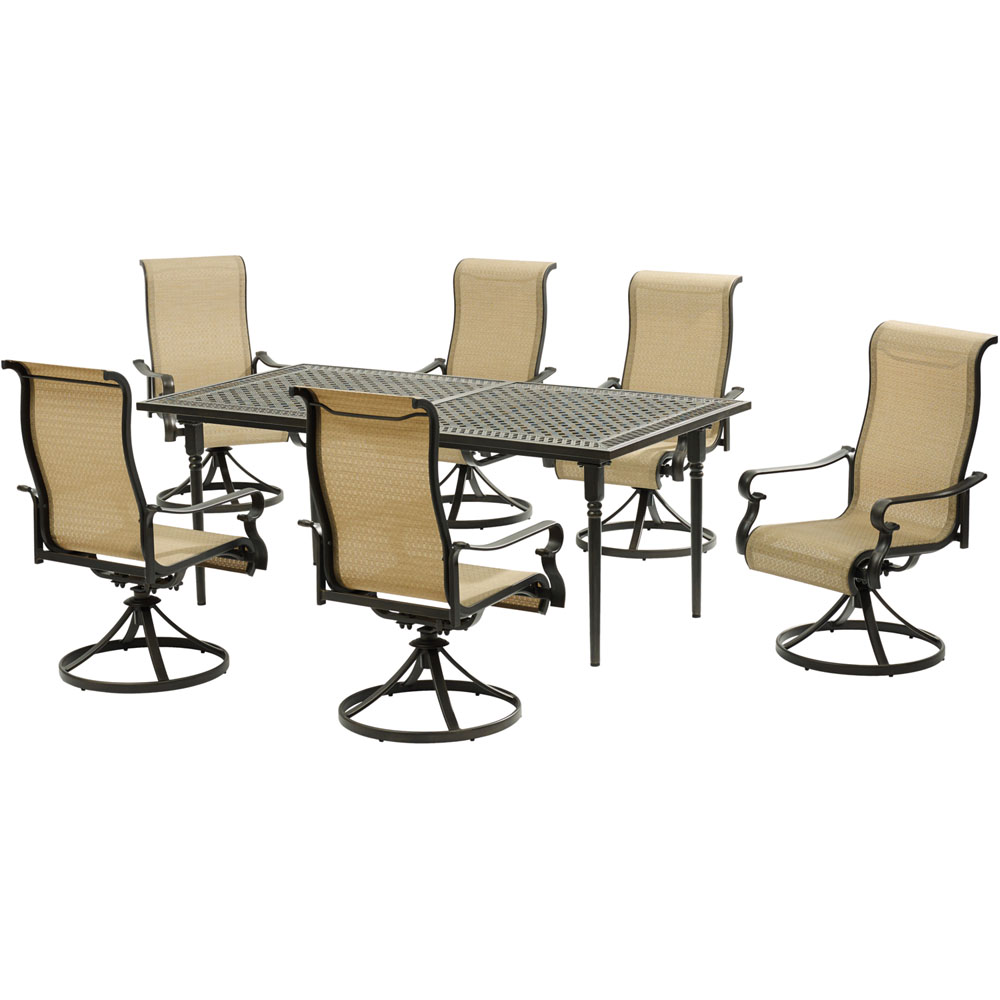 Brigantine7pc: 6 Sling Swivel Rockers, Expandable Cast Dining Table