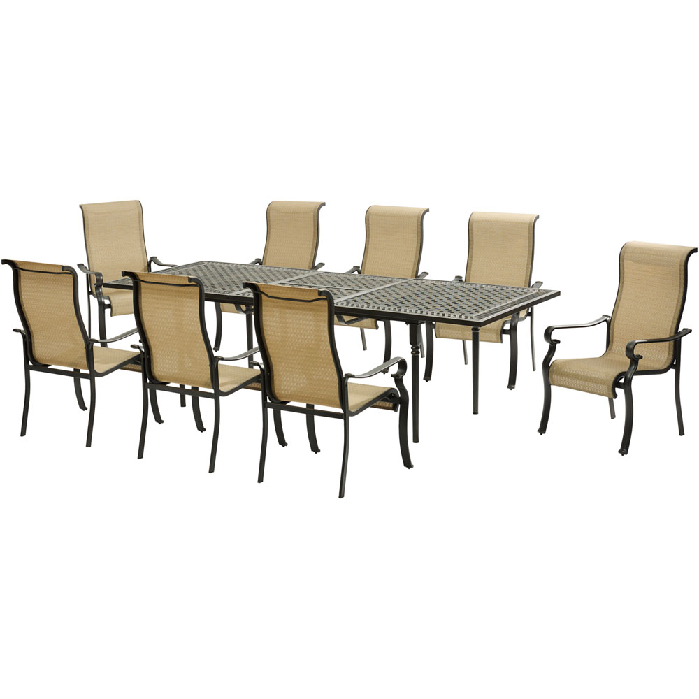 Brigantine9pc: 8 Sling Dining Chairs, Expandable Cast Dining Table
