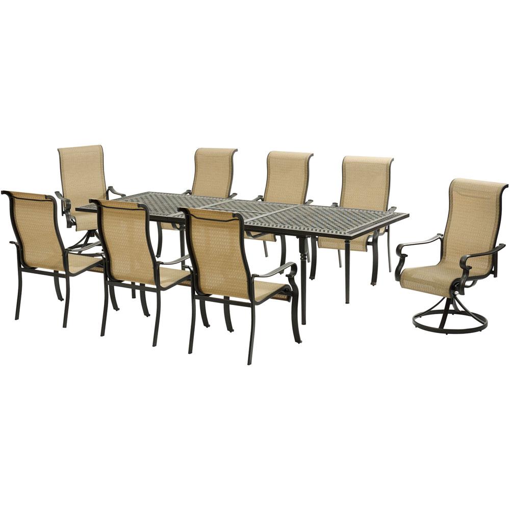 Brigantine9pc: 6 Sling Dining Chrs, 2 Sling Swv Rockers, Exp Cast Table