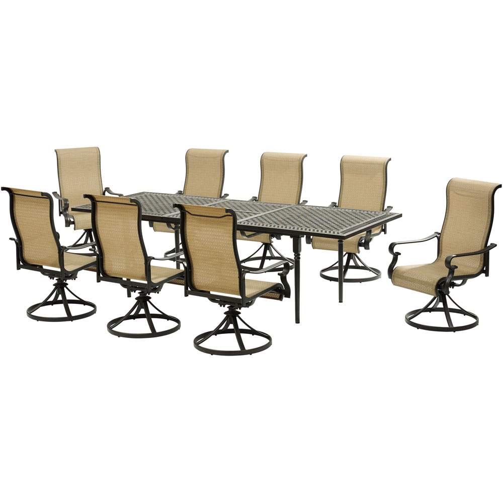 Brigantine9pc: 8 Sling Swivel Rockers, Expandable Cast Dining Table