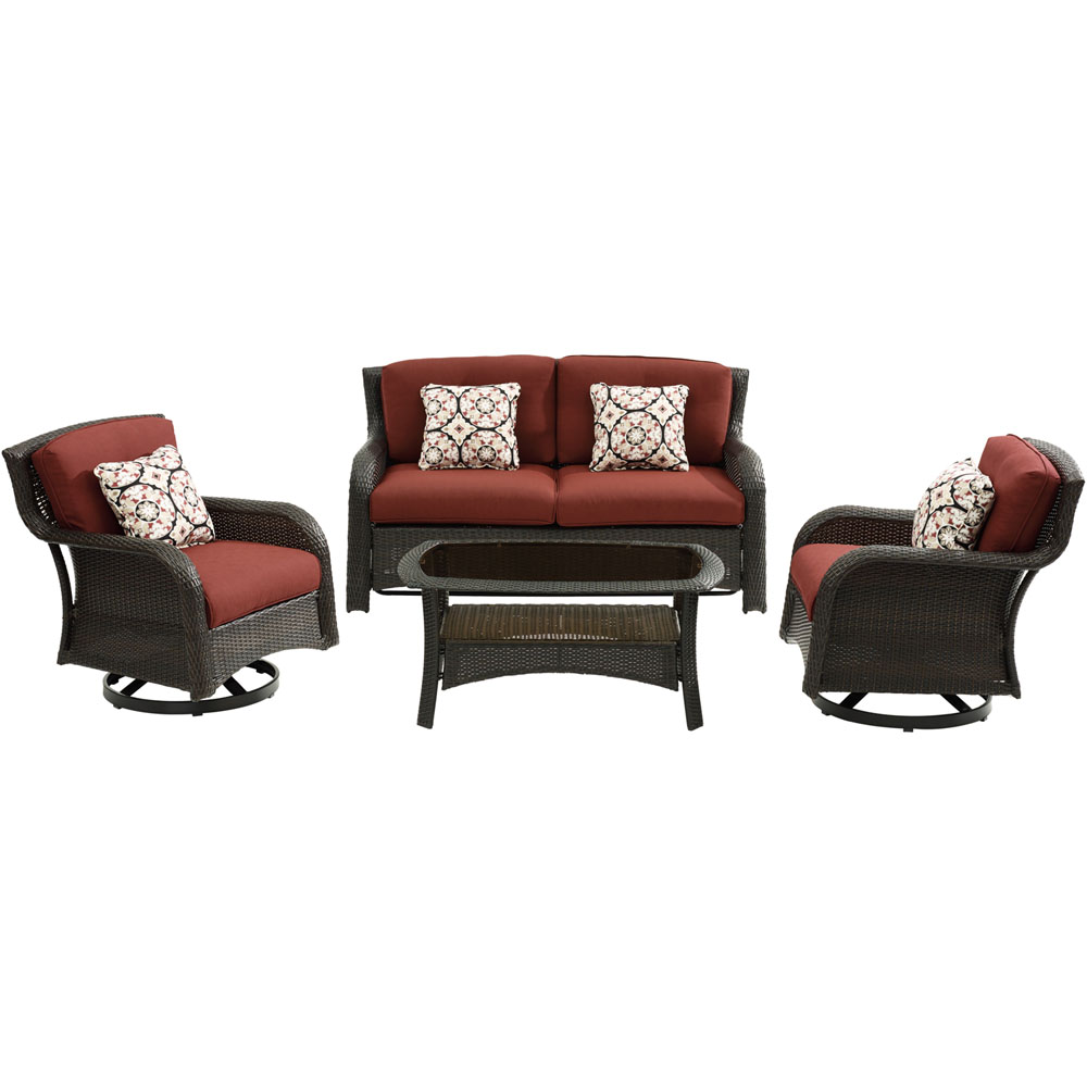 Strathmere4pc: Loveseat, 2 Swivel Gliders, Woven Coffee Table