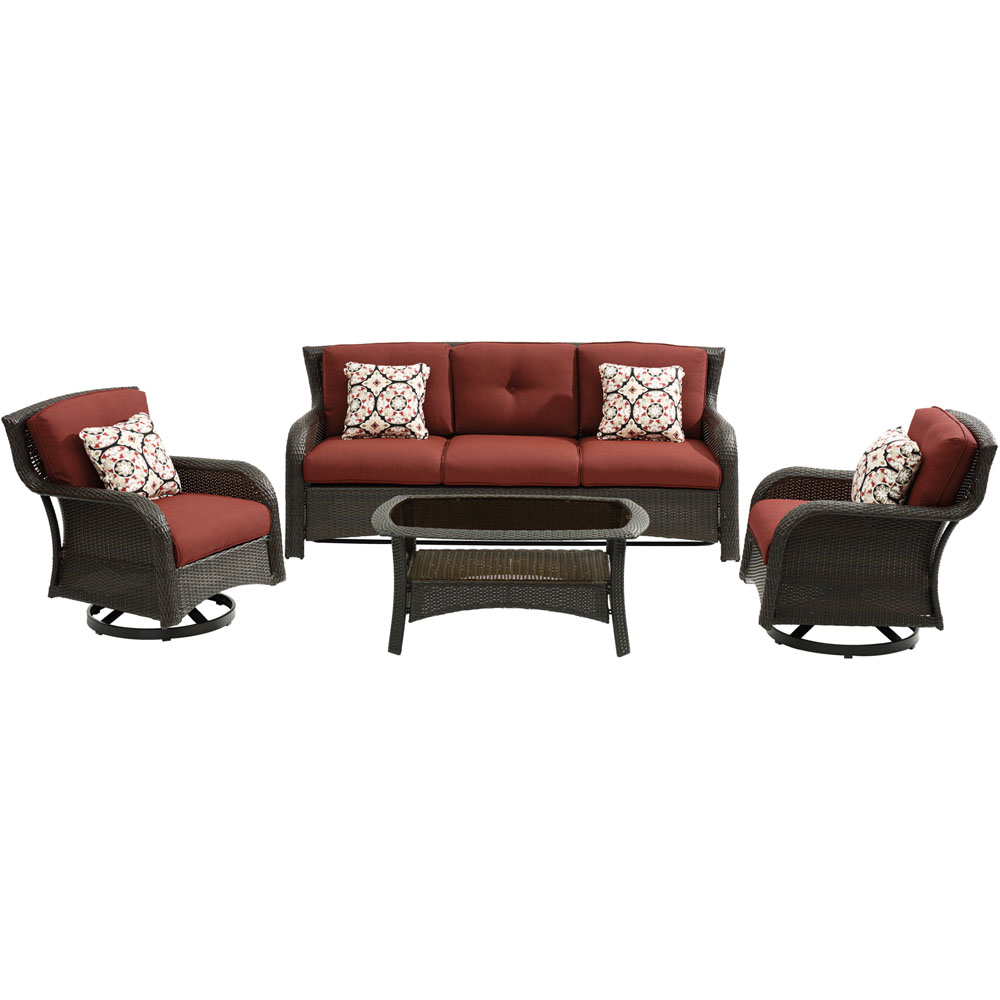 Strathmere4pc: Sofa, 2 Swivel Gliders, Woven Coffee Table