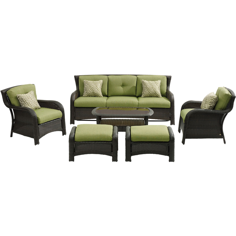 Strathmere6pc: Sofa, 2 Side Chairs, 2 Ottomans, Woven Coffee Table